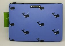 Kate Spade Ny Womens Off We Go Whale Print Blue Gia Zip Top Clutch Pouch Bag Nwt