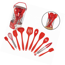 Kitchen Utensils w Bamboo Holder- 10 Pc Silicone Cooking Tools Set- Spatula, Spo