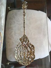 """ANTIQUE VTG ITALIAN COTE OF ARMS & CHERUBS  BRASS  SERVING  SPOON ITALY 9 3/4"""""""