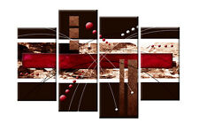 RED BROWN ABSTRACT CANVAS 4 PANEL WALL ART SPLIT PICTURES 4 PANEL 40 rdy 2 hang
