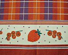 ITALY-VINTAGE AUTHENTIC PLAID RED FRUIT BURGUNDY PURPLE COTTON KITCHEN TEA TOWEL