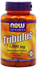Now Foods Tribulus 1000 mg 90 Tabs 45% Saponins - Testosterone Boost - FRESH