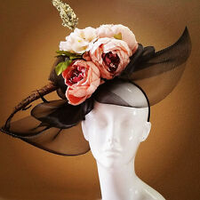 ROYAL ASCOT Fascinator KENTUCKY DERBY Hat Black Green Pink Mauve Peony Flower