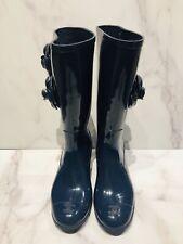 CHANEL CC Navy Blue Camellia Rubber Rain Boots