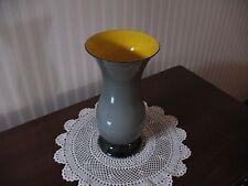 """Modernist Salviati Murano Vase Grey/Yellow 10"""" w/ Original Padded Case"""