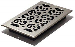 Decor Grates SP610W-NKL Scroll Steel Plated Wall/Ceiling Register, 6 x 10-Inch,