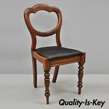 Antique 19th C. English Victorian Balloon Back Mahogany Library Side Chair (B)