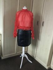Asos see through red long sleeved ruffle neck blouse - size 8