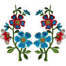 Pair of Red Blue Flower Patches Iron On Sew On Flowers Embroidered Patch Badge
