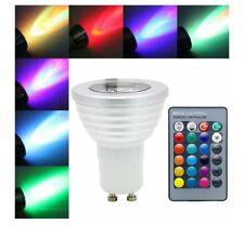 Lampadina Led RGB attacco gu10 3 Watt completa di telecomando faretto dicroico