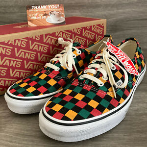 Vans Authentic Washed Black Yellow Red Green Multicolor Size 11 Men's NWB