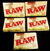 5X Packs RAW 1.5 Organic Hemp 1 1/2 Natural Unrefined Cigarette Rolling Papers