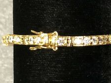 tennis bracelet 14 k gold plated 7.5 inch long