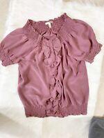 Joie Women's Ruffle Top Blouse 100% Silk Size Small