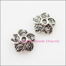 50Pcs Tibetan Silver Leaf Star Flower End Bead Caps Connectors 11mm
