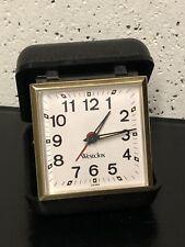 Vintage Westclox Travel Alarm Clock Windup Analog, Plastic Case Black