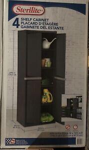 Sterlite Adjustable 4-Shelf Gray Storage Cabinet With Doors Brand New Sealed
