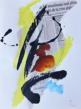 "JEAN MIOTTE 1926-2016""Composition"" HAND SIGNED ORIGINAL UNIQUE GOUACHE & COLLAGE"