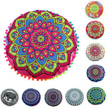 Indian Mandala Round Pillows Case Bohemian Round Cushion Pillows Cover Throw Dec