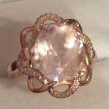 4.16CT Huge  Natural Morganite & Natural  Diamonds in 10k Solid Rose Gold  Ring