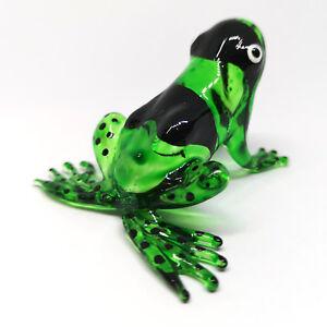 Figurine Green Frog Collectible Hand Blown Art Glass Garden Decor Statue