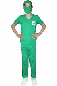 New Kids Play Doctor Boys Surgeon Green Costume Two Piece Fancy Dress Outfit