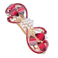 Red Fashion Ladies Rhinestone Crystal Flower Hair Pin Barrette Hairpin Clips