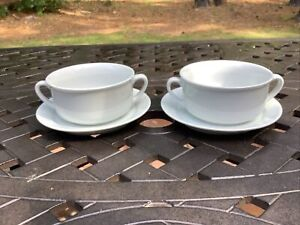 Williams-Sonoma IDG White Double Handle Cream Soup Bowls and Saucers (set of 2)