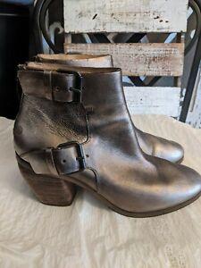 MARSELL Metallic Bronze  Leather Zip Ankle Boots $1175 buckles sz 39 1/2/9