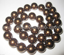 12mm Large Coffee Brown Round Loose Sea Shell Pearl Bead 15'' JL470