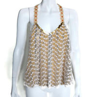 FREE PEOPLE Stunning! Floral Gauze Ochre Lace and Sequin Trim Tank Top Small