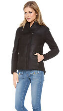 NWT Muubaa Eylmere Leather Quilted Padded Jacket Womens Nubuck Coat *US 8/ UK 12