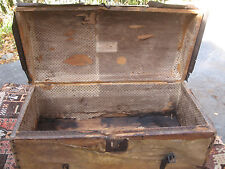 ANTIQUE 1800s FOLK ART DEER HIDE DECORATED TACK DOME TOP TRUNK CHEST