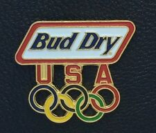 Olympic Pin Badge ~ Sponsor ~ Bud Dry ~ USA ~ 5 colored rings ~Budweiser~cut out