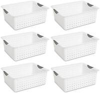Sterilite Large Ultra Plastic Storage Organizer Baskets, White (6 Pack) 16268006