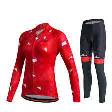 Women's Long Cycling Clothing Kit Reflective Cycle Jersey & Padded Pants Set Red