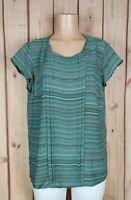 LIZ CLAIBORNE Womens Size Large Short  Sleeve Shirt Striped Print Poly Top