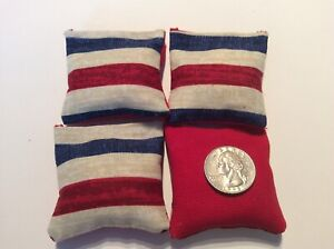 "4 Red & Blue Stripe ( Red  Back)  Mini cornhole, bean bags, 2"" X 2"" Great Bags!"