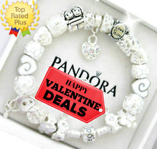 "Authentic Pandora Bracelet Silver with ""LOVE STORY"" WIFE White European Charms"