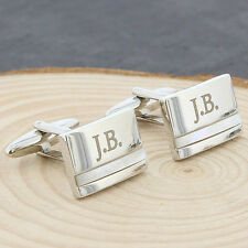 Mother of Pearl Personalised Engraved Cufflinks for Men Birthday Wedding Gift