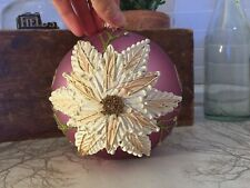 Extra Large Antique Vintage Dusty Pink Decorated Bauble Decorative Christmas