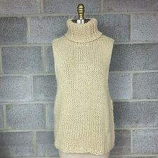 Lucca Womens Vest Ivory Knit Deep Armholes Couture Turtleneck Sweater Size Large
