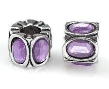 2PCs Antique Silver Purple Rhinestone Spacer Beads Fit European Charm Bracelets