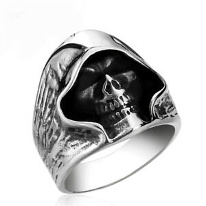 Fashion Men's Silver Gothic Punk Skull Ring Biker Band Rings Jewelry Size 8-11