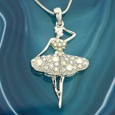 Ballerina W Swarovski Crystal AB Clear Pendant Necklace Chain Jewelry