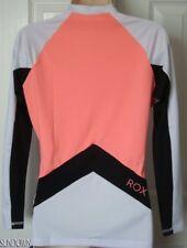 NWT WOMENS ROXY XY WHITE CORAL BLACK LONG SLEEVE RASHGUARD SWIM SURF SHIRT 14
