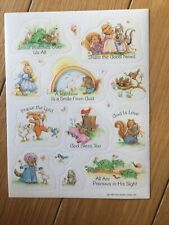 Vintage 1987 Hallmark Sticker Sheet Cute Animals Religious Uplifting Messages