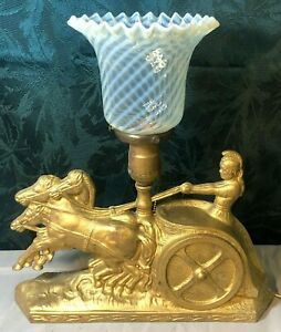 1920's Art-Deco Table Lamp - Magnificent Opalescent Swirl Shade!