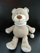 B6- DOUDOU PELUCHE MUSICAL BENGY OURS 26 cms GRIS BLEU - TBE