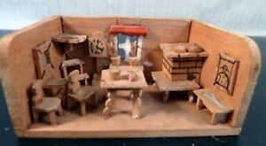 Antique German ERZGEBIRGE Room Box for NURSERY 1:12 Dollhouse Miniature